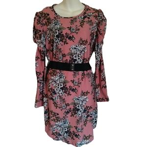 No Comment Floral Belted 3/4 Sleeve Bodycon Dress